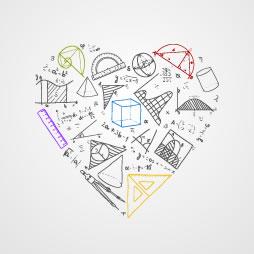 Corazón con simbología matemática y física